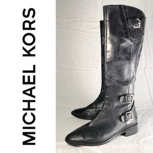 Michael Kors Black Moto Knee High Boots Size 7.5